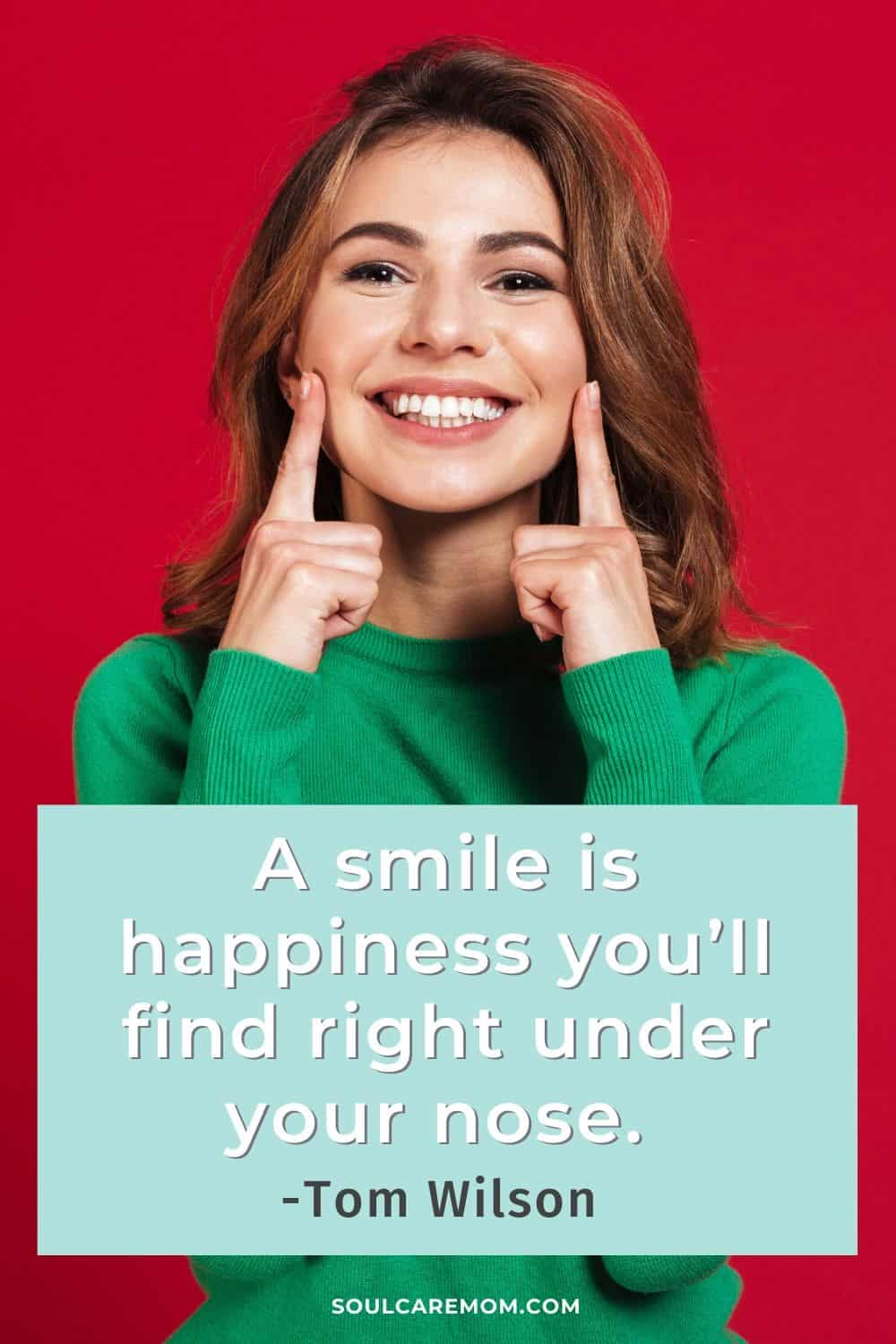 A smile is happiness you'll find right under your nose. -Tom Wilson - Smile Quote - Soul Care Mom